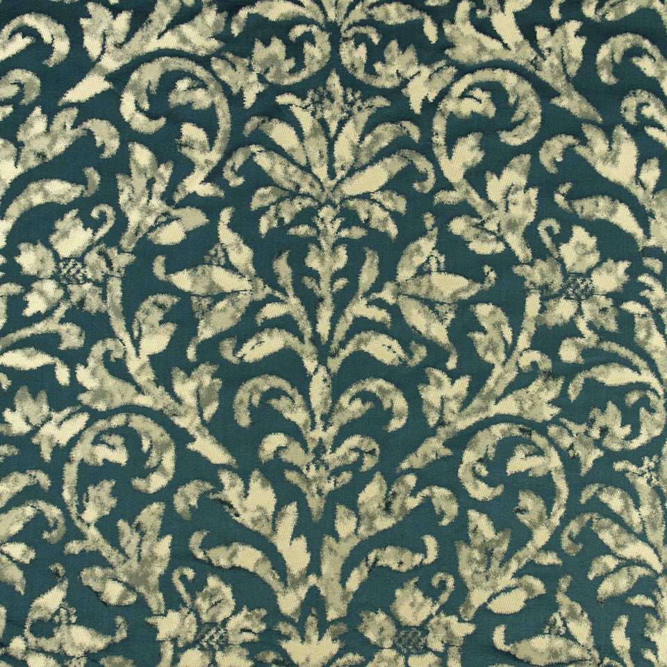 SILK JACQUARDS & EMBROIDERIES II Hana Frame Fabric - Neptune