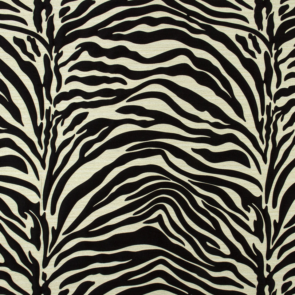 SILK JACQUARDS & EMBROIDERIES I Kawa Zebra Fabric - Black