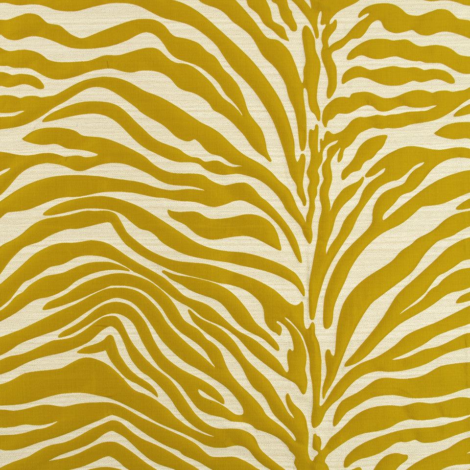 SILK JACQUARDS & EMBROIDERIES II Kawa Zebra Fabric - Mango