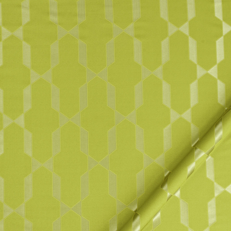 SILK JACQUARDS & EMBROIDERIES II Emi Fret Fabric - Chartreuse