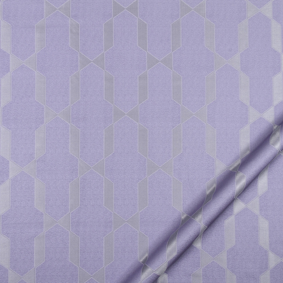 SILK JACQUARDS & EMBROIDERIES II Emi Fret Fabric - Hyacinth