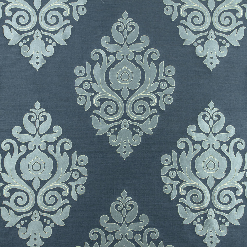 SILK JACQUARDS & EMBROIDERIES II Nippon Frame Fabric - Neptune