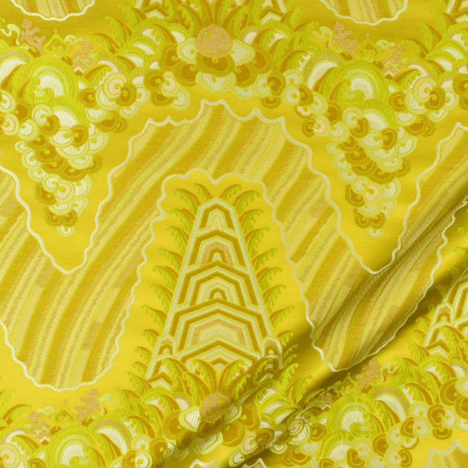 SILK JACQUARDS & EMBROIDERIES II Silk Ocean Fabric - Yellow