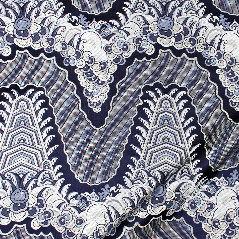 SILK JACQUARDS & EMBROIDERIES I Silk Ocean Fabric - Navy