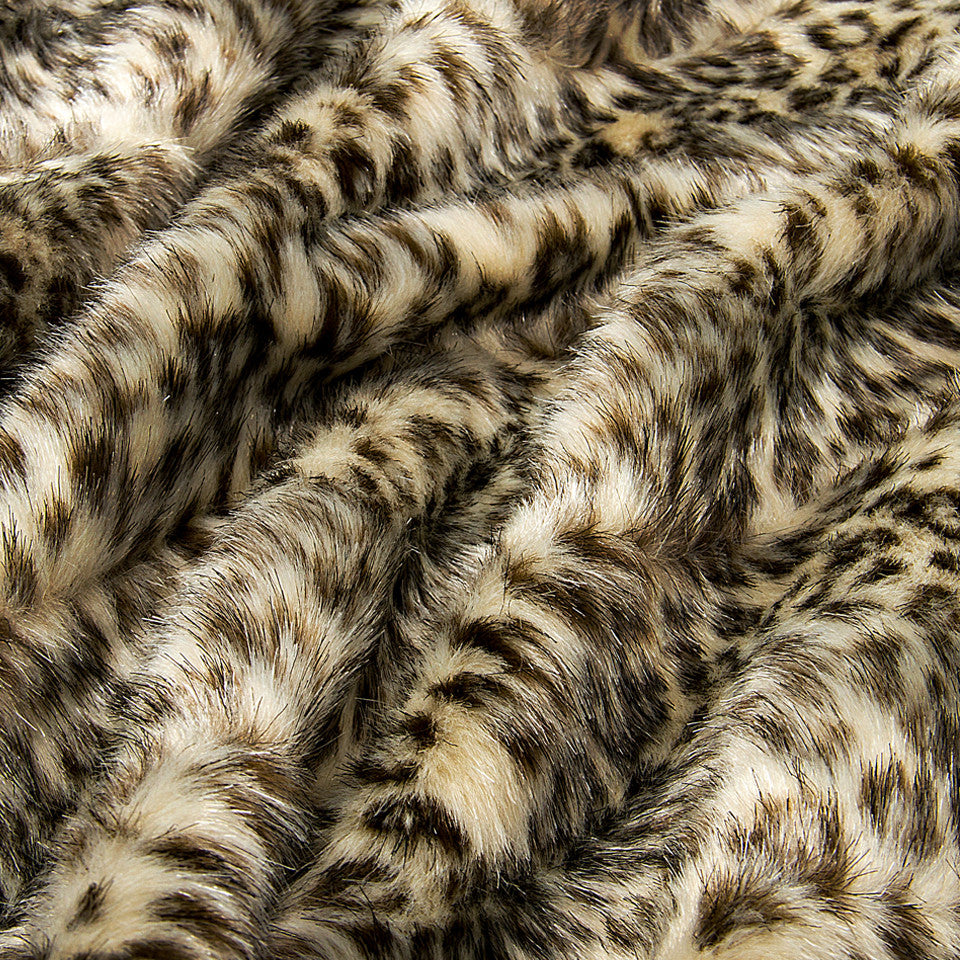 LAVISH FAUX FURS Baby Ocelot Fabric - Black
