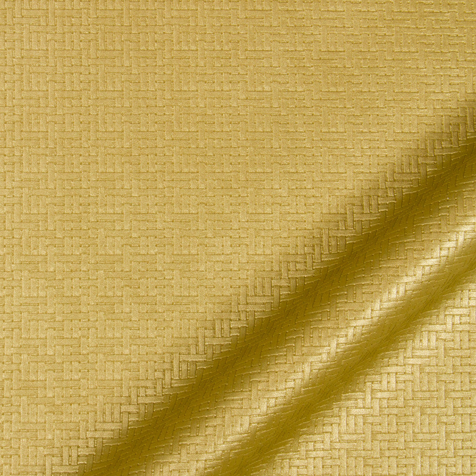 LUXE FAUX LEATHER Maze Matrix Fabric - Gold Leaf