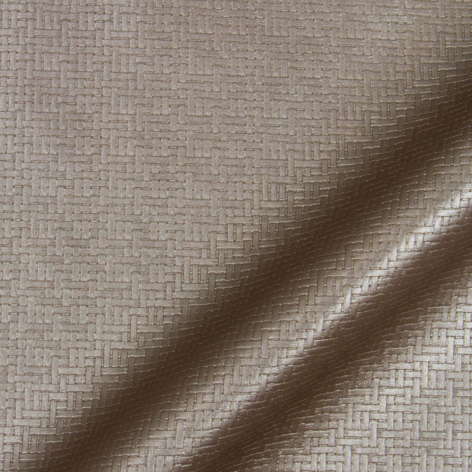 LUXE FAUX LEATHER Maze Matrix Fabric - Zinc