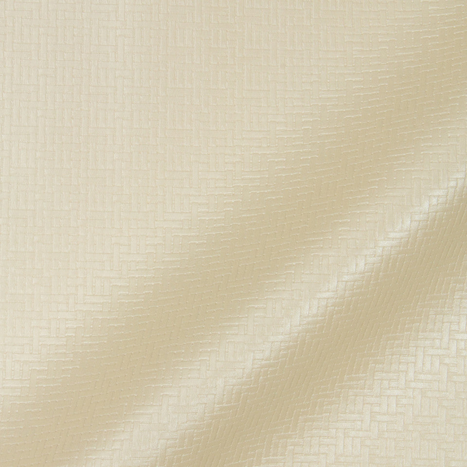 LUXE FAUX LEATHER Maze Matrix Fabric - Pearl