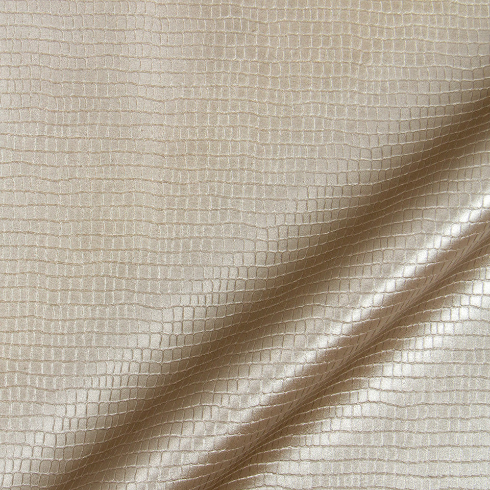 LUXE FAUX LEATHER Reptile Luster Fabric - Zinc