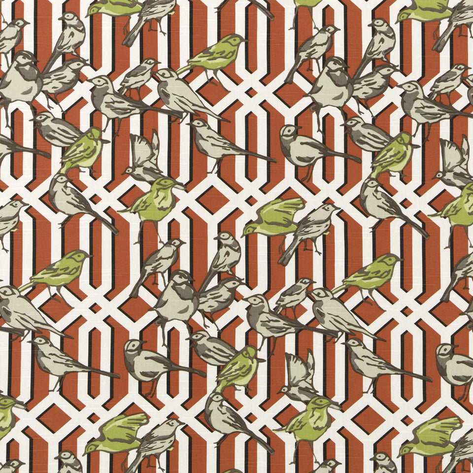 DWELLSTUDIO MODERN ARCHIVE Aviary Trellis Fabric - Poppy