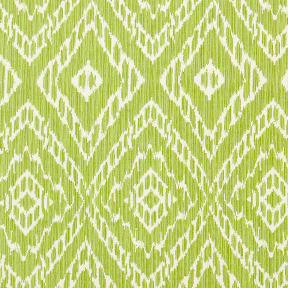 SPRING GRASS Strie Ikat Fabric - Leaf