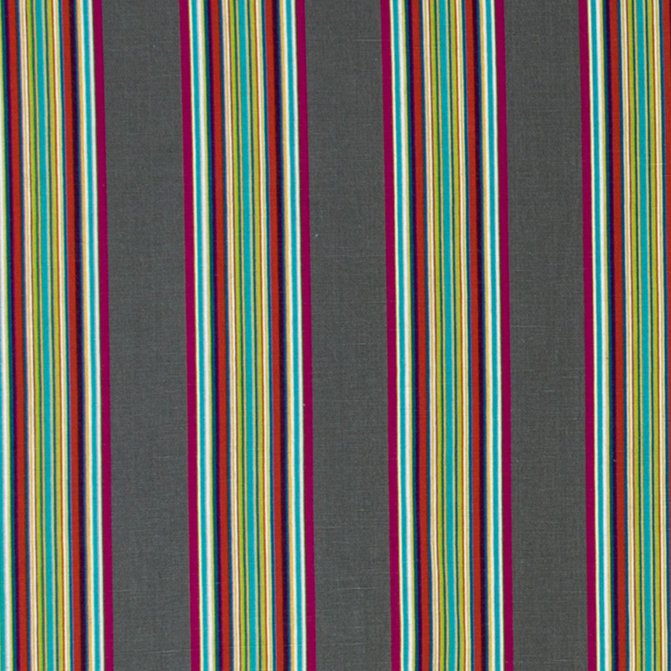 Villa Stripe Fabric - Charcoal