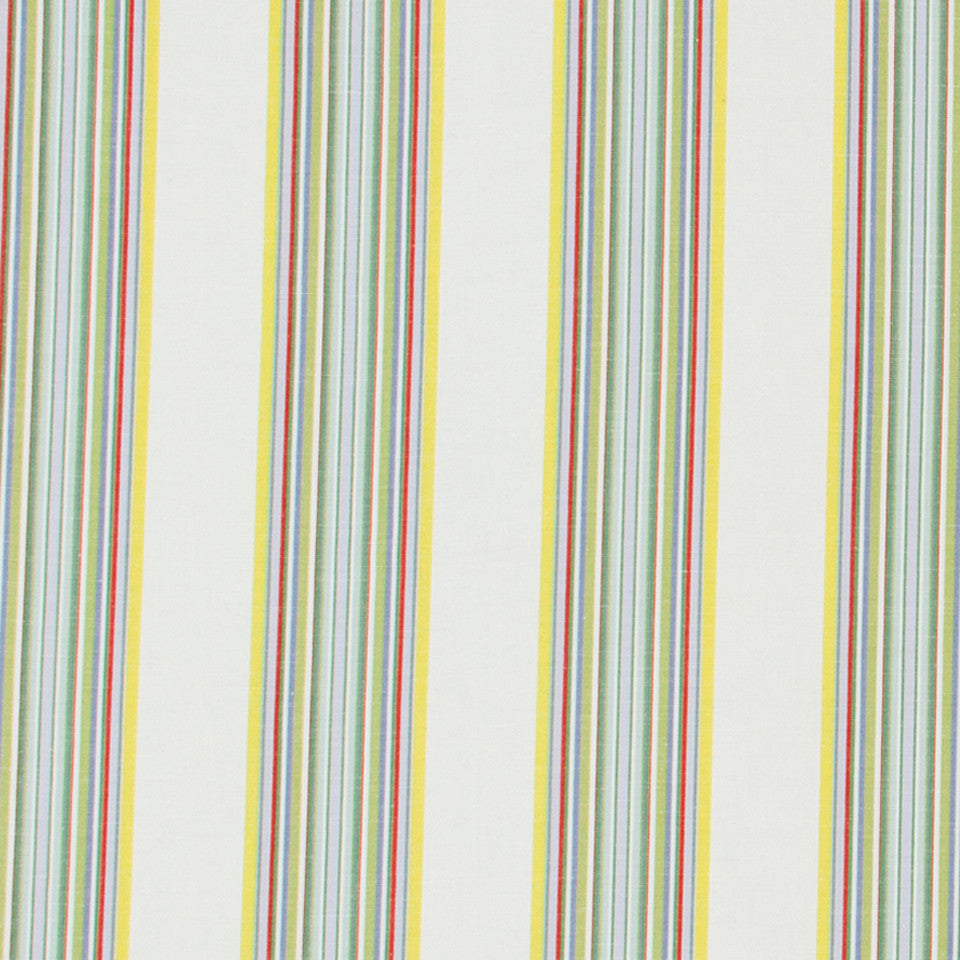 Villa Stripe Fabric - Coral