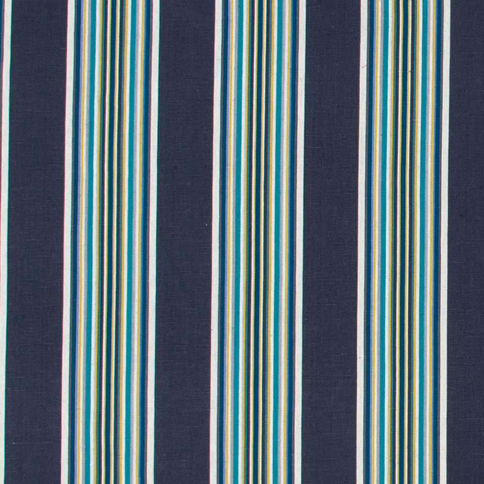 Villa Stripe Fabric - Indigo