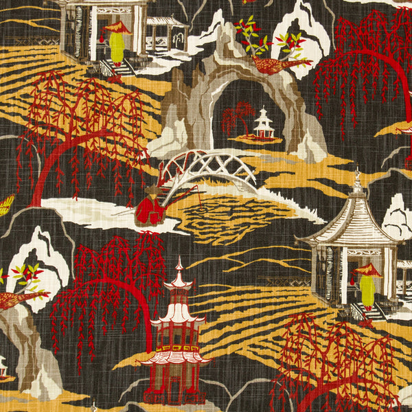 Neo Toile Fabric - Red Lacquer