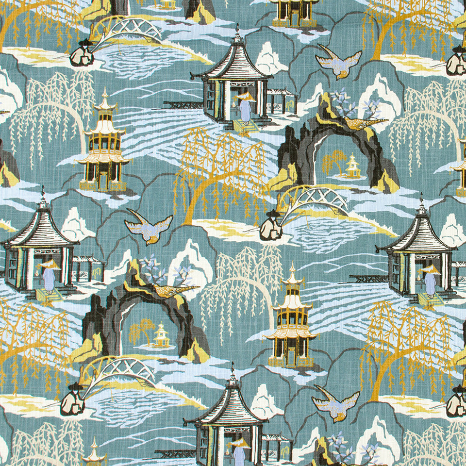 Neo Toile Fabric - Cove