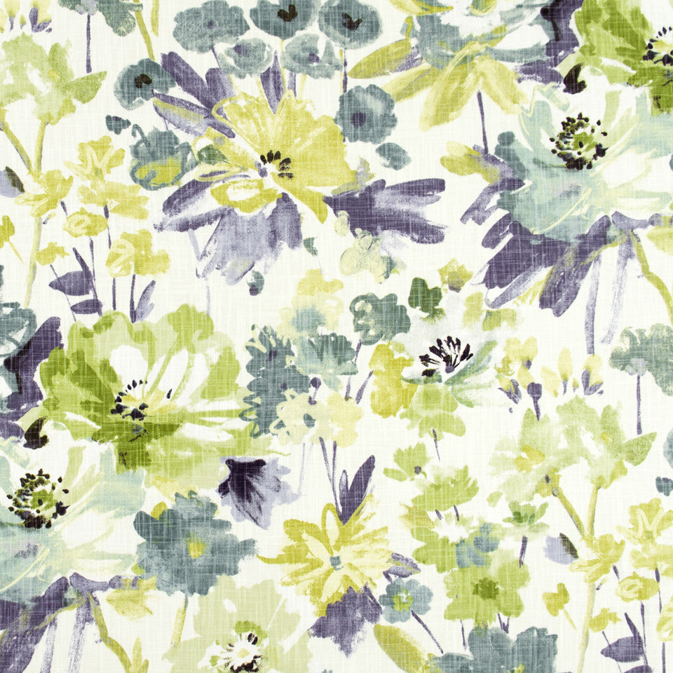 WISTERIA-IRIS-CHARTREUSE Flower Bunch Fabric - Iris
