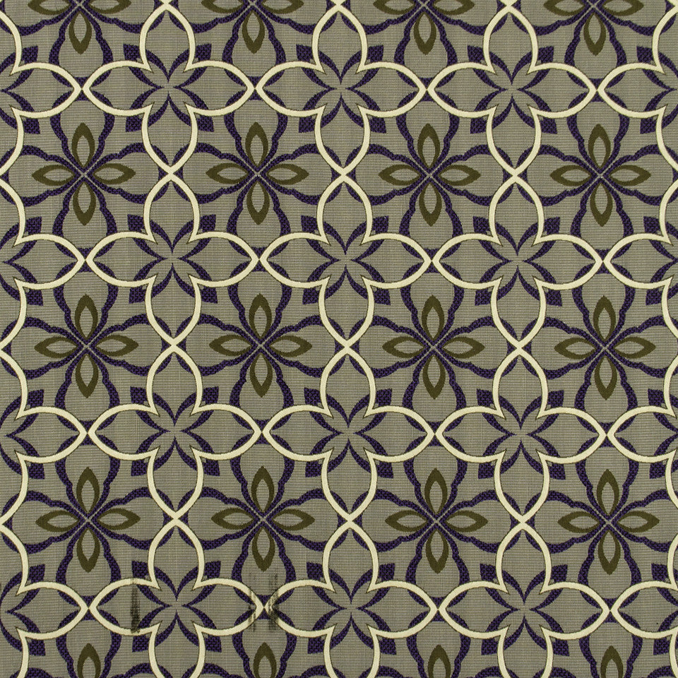 MALACHITE-ROYAL PURPLE-SLATE Four Leaf Fabric - Royal Purple
