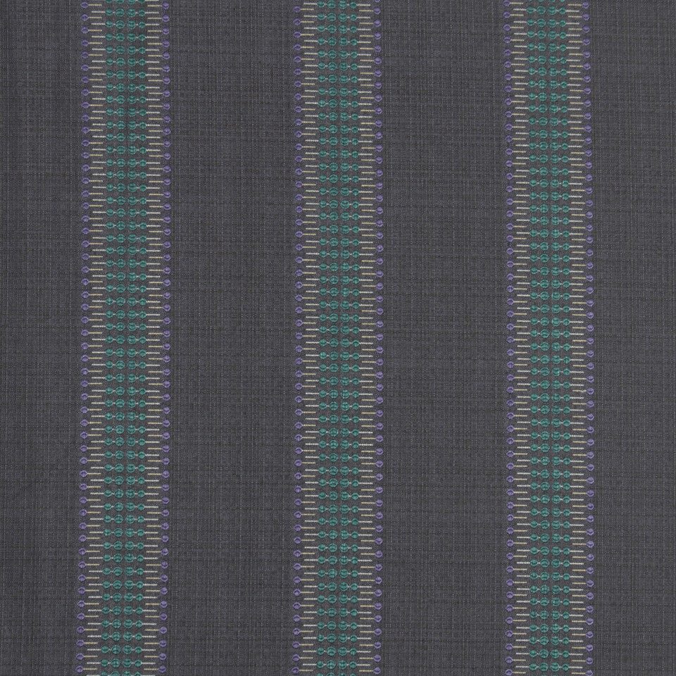MALACHITE-ROYAL PURPLE-SLATE Hammer Stripe Fabric - Slate