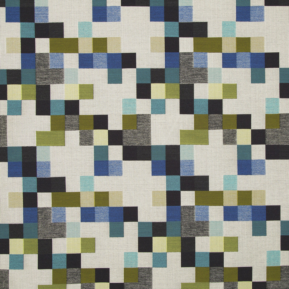 KIRK NIX ONE TEN WEST On The Rocks Fabric - Cerulean