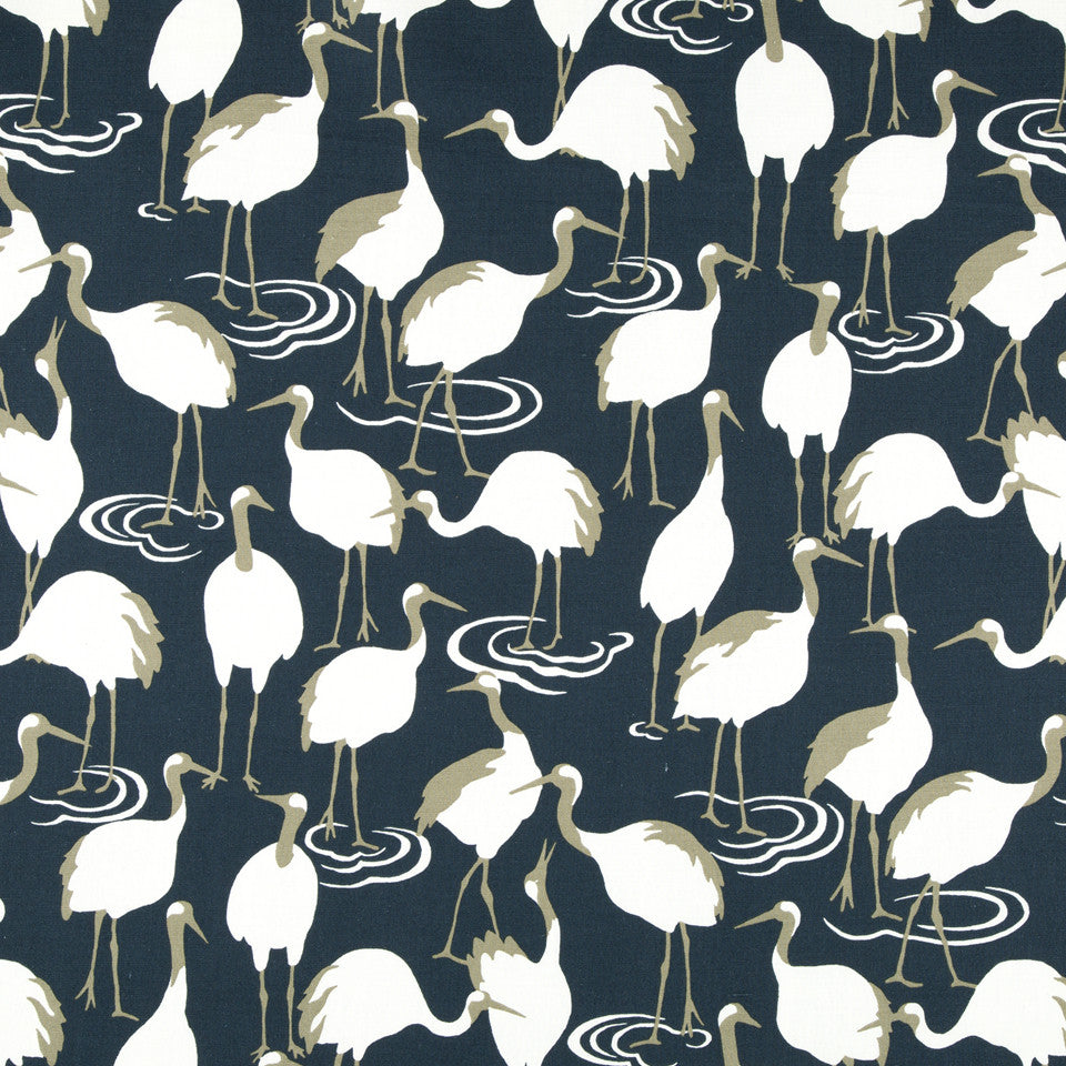 DWELLSTUDIO MODERN ARCHIVE Winter Crane Fabric - Admiral