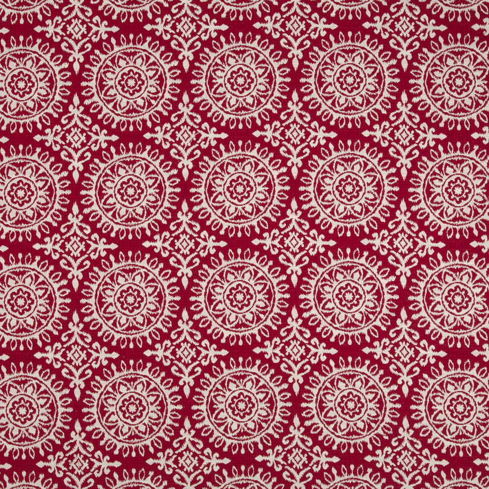 Suzani Strie Fabric - Red Lacquer