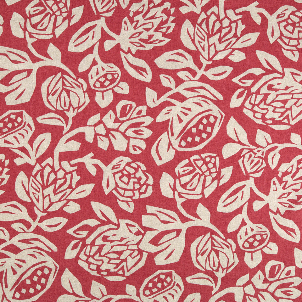 Cutwork Floral Fabric - Coral