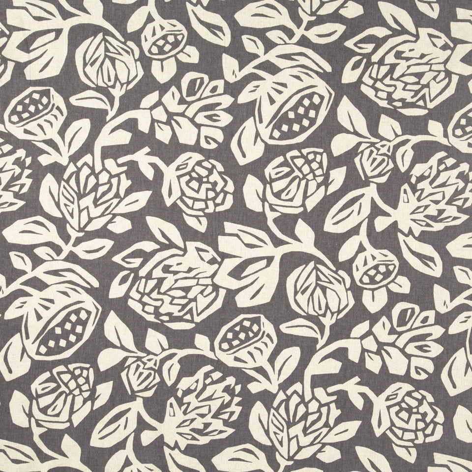 Cutwork Floral Fabric - Truffle