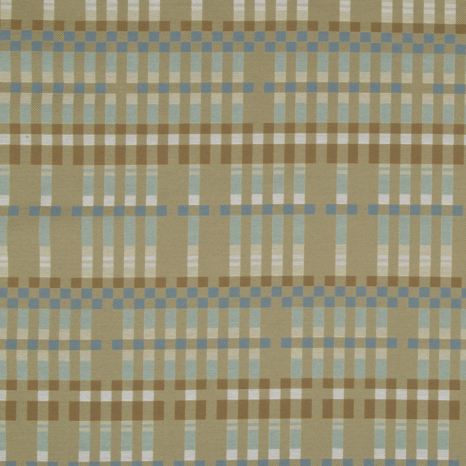 PERFORMANCE UPHOLSTERY/NANO-TEX  DURABLOCK/FAUX LEATHER Boxed Plaid Fabric - Spa