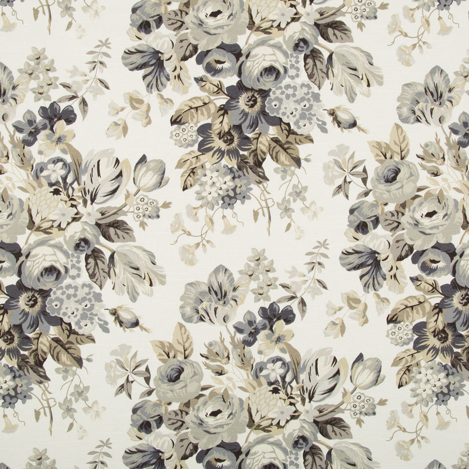 Medley Blooms Fabric - Pewter