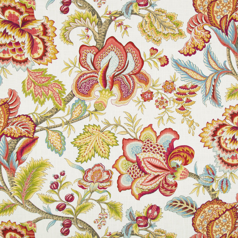 Jacobean Swag Fabric - Coral