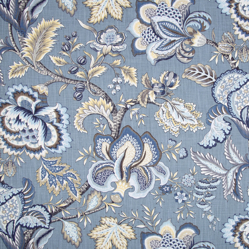 Jacobean Swag Fabric - Indigo