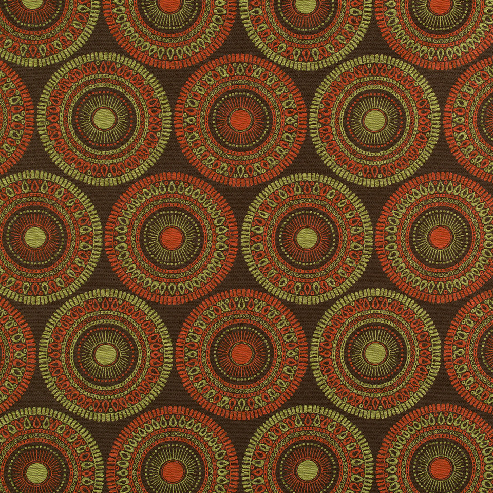 PERFORMANCE UPHOLSTERY/NANO-TEX  DURABLOCK/FAUX LEATHER Circle Art Fabric - Tuscan