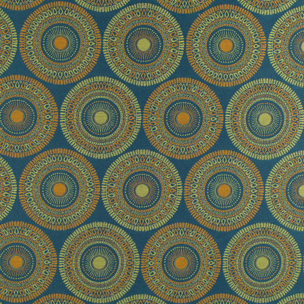 PERFORMANCE UPHOLSTERY/NANO-TEX  DURABLOCK/FAUX LEATHER Circle Art Fabric - Mediterranean