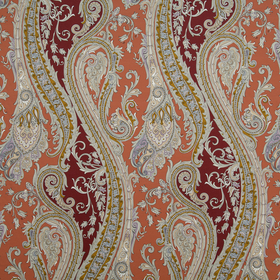 CORAL REEF Fun Paisley Fabric - Coral Reef