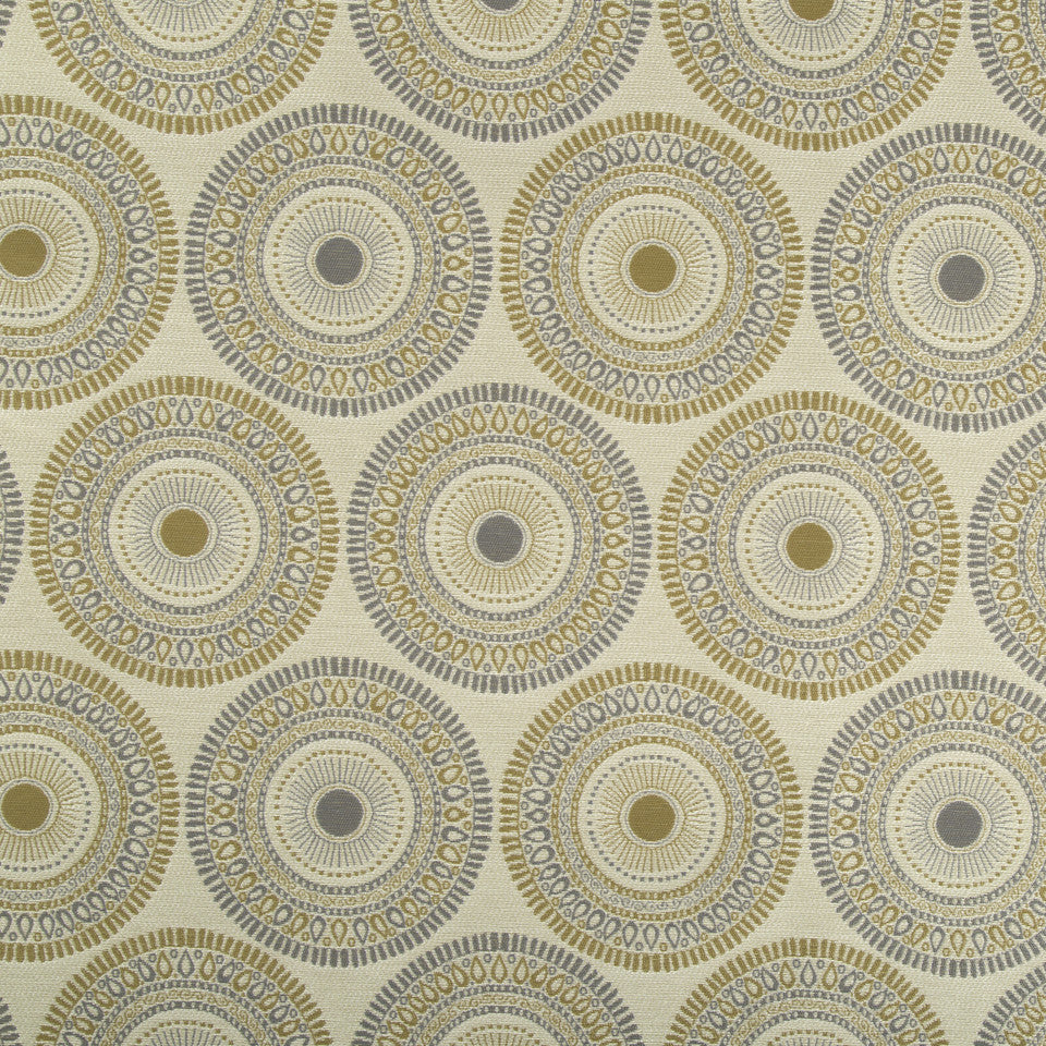 PERFORMANCE UPHOLSTERY/NANO-TEX  DURABLOCK/FAUX LEATHER Circle Art Fabric - Warm Neutral