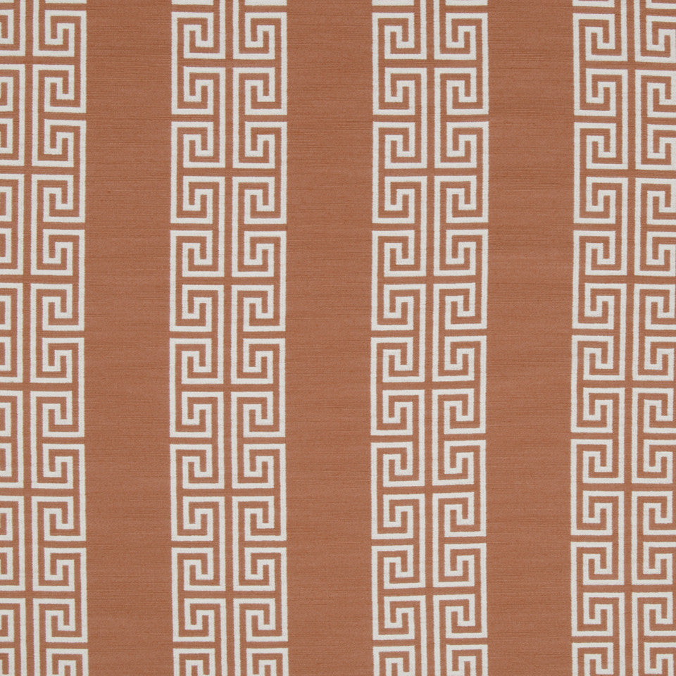 CORAL REEF Greek Stripe Fabric - Coral Reef