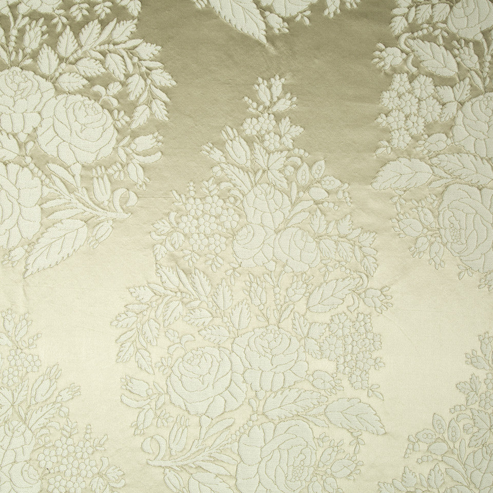 SILK JACQUARDS & EMBROIDERIES III Amazon Flower Fabric - Travertine