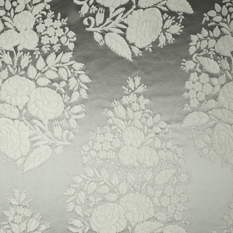 SILK JACQUARDS & EMBROIDERIES III Amazon Flower Fabric - Platinum