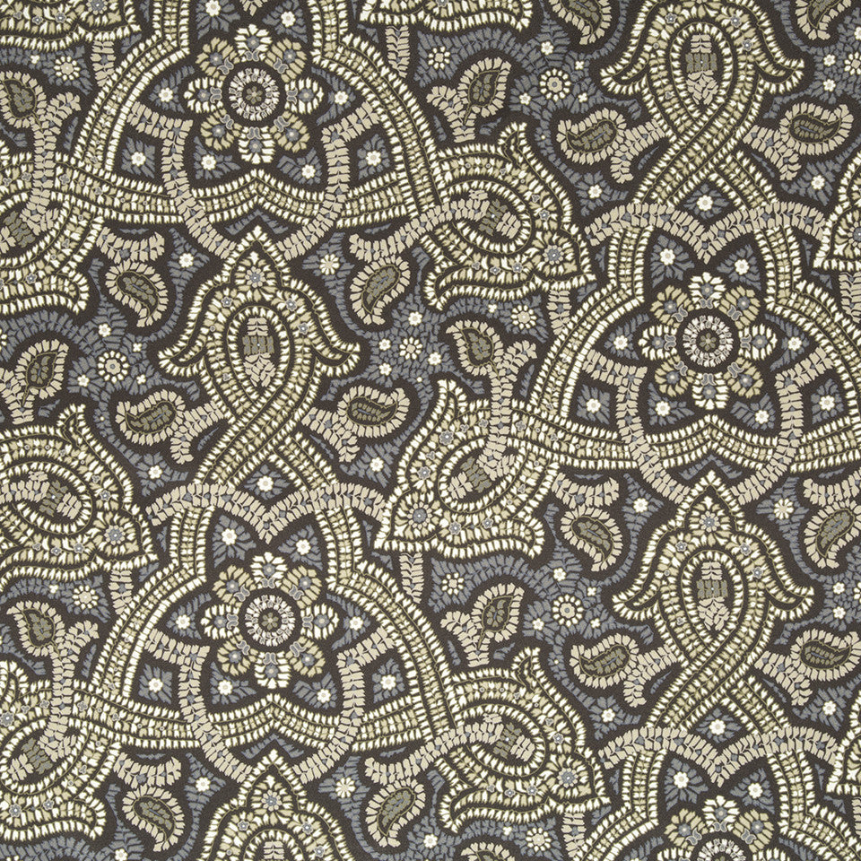 SILK JACQUARDS & EMBROIDERIES III Samba Paisley Fabric - Bear Brown