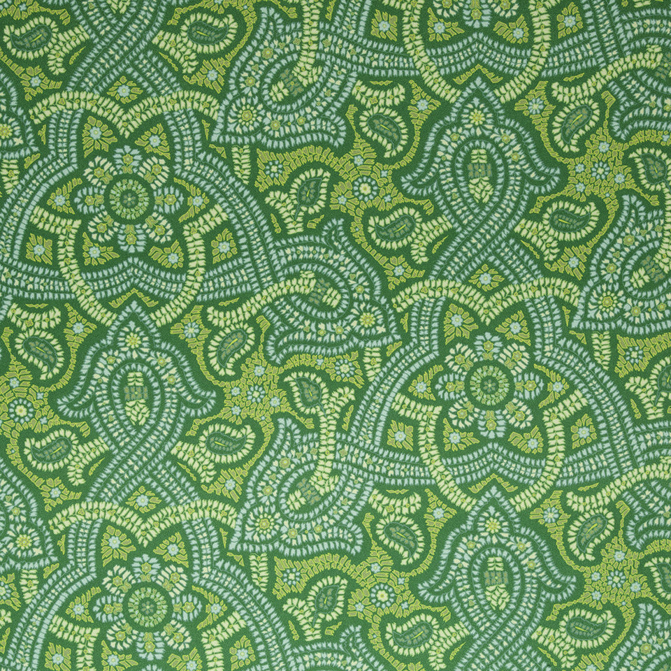 SILK JACQUARDS & EMBROIDERIES III Samba Paisley Fabric - Emerald