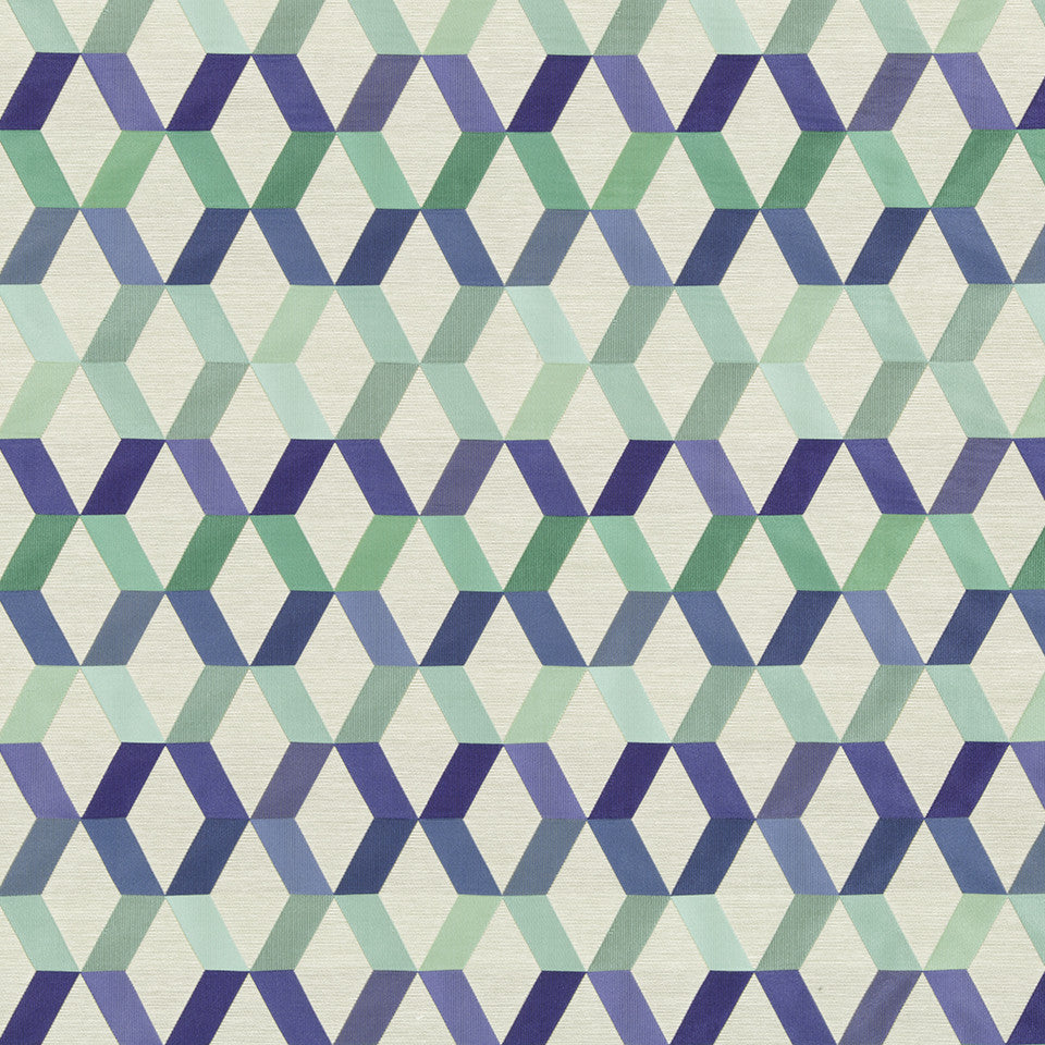 SAPPHIRE-LIME-CAPRI Diamond Facets Fabric - Capri