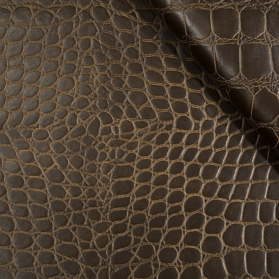 FAUX LEATHER II Mock Croc Fabric - Mocha