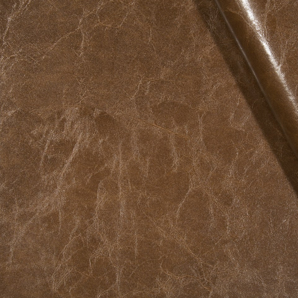 FAUX LEATHER II Shellac Fabric - Mahogany