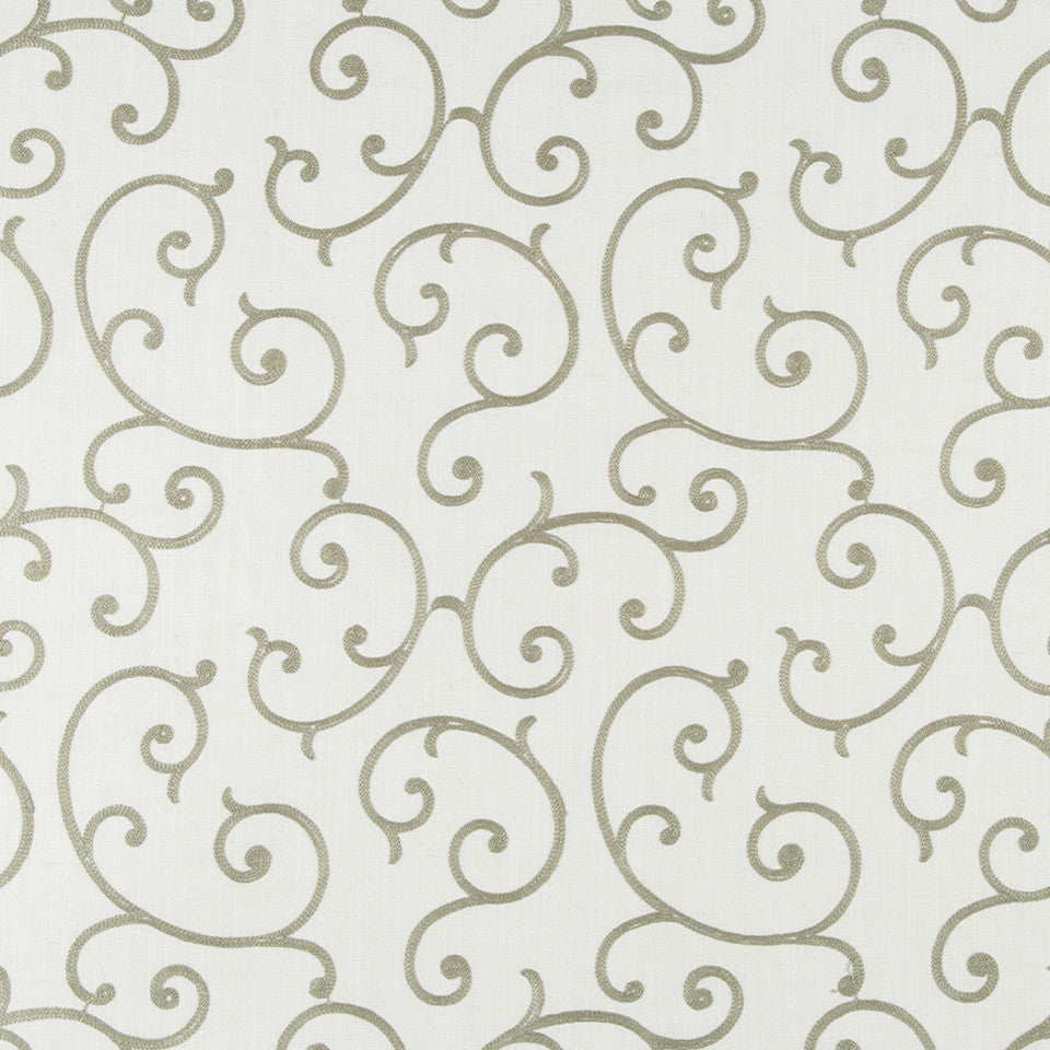 COLOR LIBRARY MULTI-PURPOSE: GLACIER-PEWTER-DRIFTWOOD Quaint Scroll Fabric - Linen