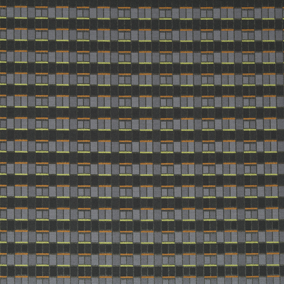 CRYPTON MODERN UPH II Brick Box Fabric - Charcoal