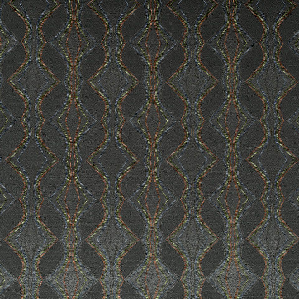 CRYPTON MODERN UPH II Sassy Curve Fabric - Charcoal