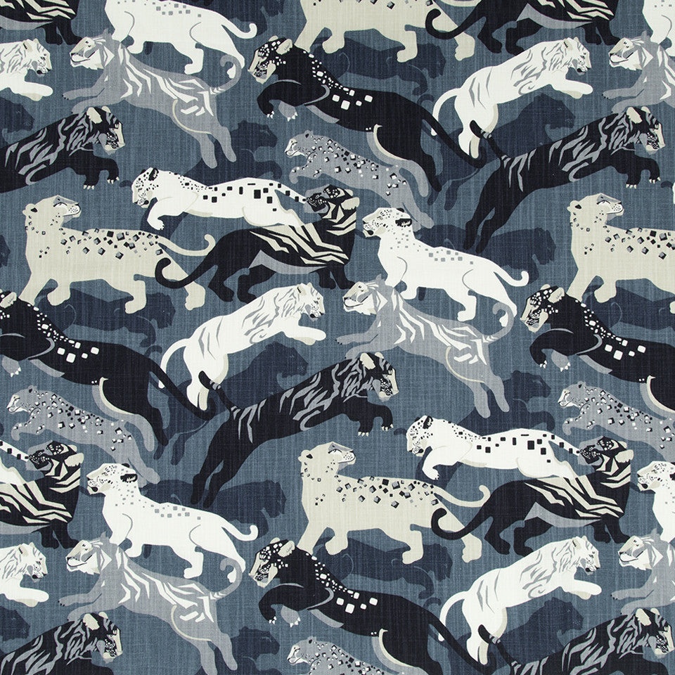 DWELLSTUDIO MODERN CARAVAN Rajita Tiger Fabric - Midnight