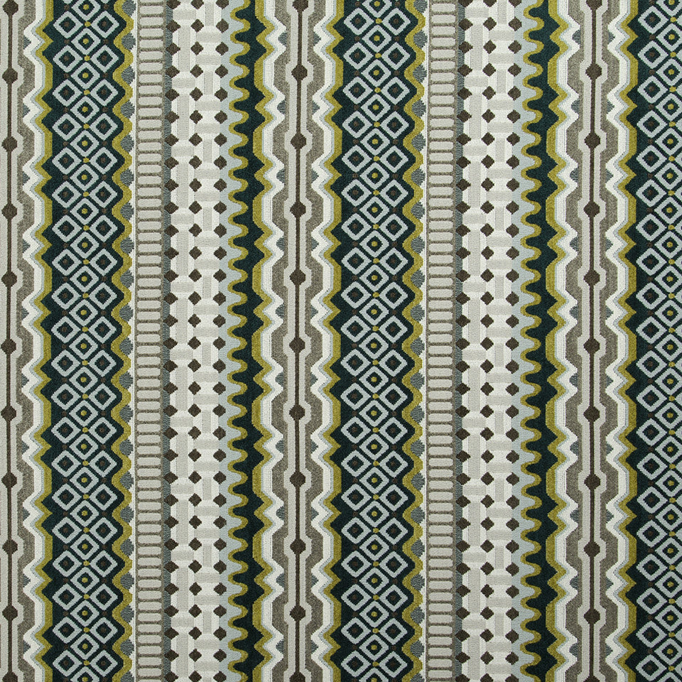 DWELLSTUDIO MODERN CARAVAN Zari Stripe Fabric - Peacock
