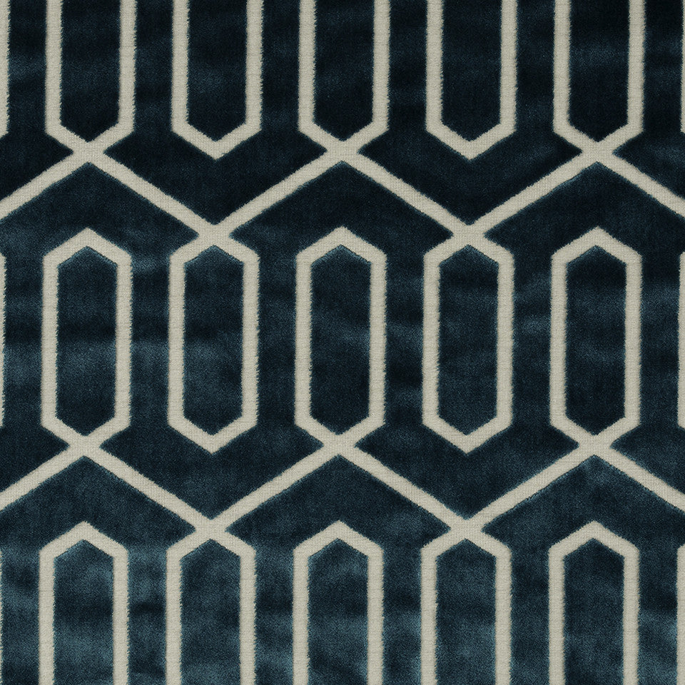 DWELLSTUDIO MODERN CARAVAN Bengal Lattice Fabric - Peacock